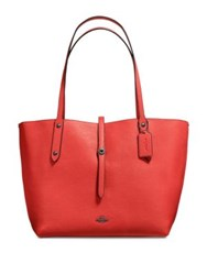 Coach Leather Market Tote Deep Coral