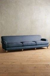 Anthropologie Linen Willoughby Grand Sofa Wilcox Navy