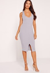 Missguided Scoop Neck Split Front Ribbed Bodycon Dress Grey Grey