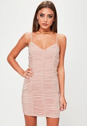 Missguided Nude Ruched Bodycon Mini Dress Beige