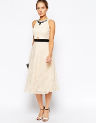 Little Mistress Lace Midi Prom Dress With Jewel Embellished Neck Cream
