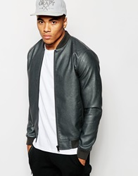 New Look Faux Leather Bomber Jacket Grey