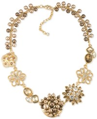 Carolee Gold Tone Crystal And Imitation Pearl Flower Frontal Necklace