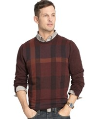 Van Heusen Big And Tall Plaid Sweater Red Pinot Noir Multi