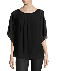 Max Studio Batwing Pleated Georgette Top Black