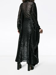 Y Project High Neck Long Sleeve Sequin Gown Black