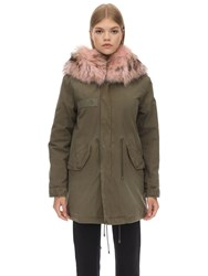 Mrandmrs Italy Midi Cotton Canvas Parka W Fur Detail Green