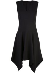 Josie Natori Stretch Handkerchief Hem Dress Black