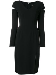 Versace Sleeve Split Dress Silk Spandex Elastane Acetate Viscose Black