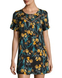 Collective Concepts Floral Print Short Sleeve Shift Dress Multi