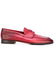 Santoni Classic Loafers Men Leather Rubber 10.5 Red
