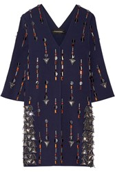 By Malene Birger Cesili Embellished Strech Jersey Mini Dress Navy Metallic