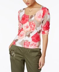 Inc International Concepts Floral Print Cardigan Only At Macy's White
