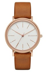 Skagen Women's 'Hald' Leather Strap Watch 34Mm Brown Silver White Rose Gold