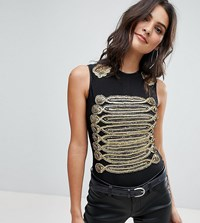 A Star Is Born Going Out Military Bodysuit With Statement Shoulders And Embellishment Black Gold