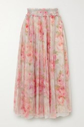 Needle And Thread Ruby Bloom Smocked Ruffled Floral Print Tulle Midi Skirt Sky Blue