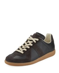 Maison Martin Margiela Men's Replica Leather And Suede Low Top Sneaker Black