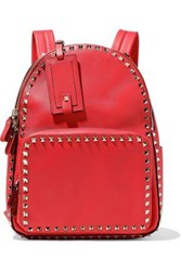 Valentino Garavani Woman Rockstud Leather Backpack Papaya