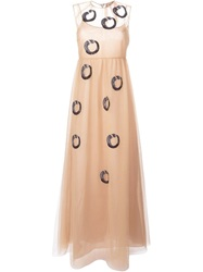 N 21 N.21 Mermaid Embroidered Evening Gown Nude And Neutrals