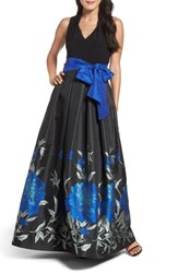 Eliza J Women's Jersey And Floral Jacquard Ballgown