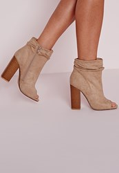 Missguided Ruched Detail Peep Toe Ankle Boots Nude Beige