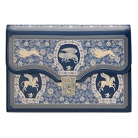 Gucci Homeric Garden Print Portfolio Navy Leather
