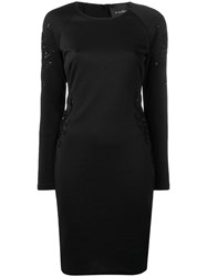 John Richmond Long Sleeve Fitted Dress Black