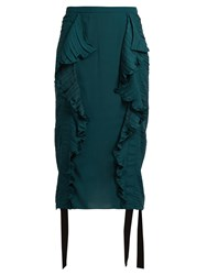 Marco De Vincenzo Ruched Ruffle Trimmed Satin Pencil Skirt Black Green