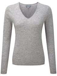 Pure Collection Paisley Cashmere V Neck Jumper Heather Dove