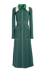 Burberry Georgette Long Sleeve Dress Dark Green