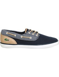 Lacoste Jouer Deck Leather And Canvas Boat Shoes Navy Stripe