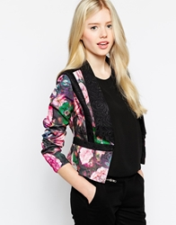 Max C London Max C Tailored Blazer In Rose Print Floral