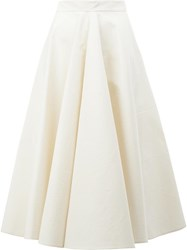 Maison Rabih Kayrouz Pleated Midi Skirt White