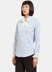 Gucci Bejewelled Bow Brooch Lace Collared Poplin Shirt Blue
