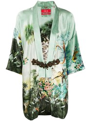 F.R.S For Restless Sleepers Short Sleeve Printed Silk Robe Green