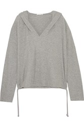 Skin Waffle Knit Cotton Blend Hooded Top Gray
