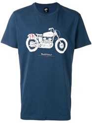 Deus Ex Machina Motorbike Print T Shirt Blue