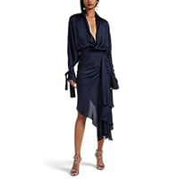 Juan Carlos Obando Washed Satin Draped Asymmetric Dress Navy