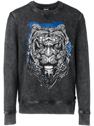 Just Cavalli Tiger Print Sweatshirt Black