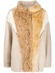 Tela Shearling Panelled Jacket Neutrals