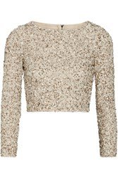 Alice Olivia Lacey Cropped Embellished Stretch Mesh Top