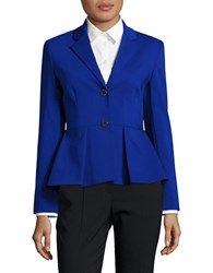 Ivanka Trump Pleated Cotton Blazer Blue