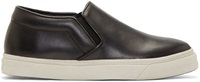 Cnc Costume National Black Leather Slip On Sneakers