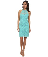 Nicole Miller Cordelia Lace Party Dress Aqua Women's Dress Blue