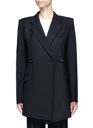 Helmut Lang Deconstructed Textured Virgin Wool Blend Long Blazer Black