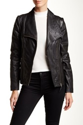 Soia And Kyo Asymmetrical Zip Leather Jacket Black