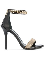 Roberto Cavalli Ankle Length Sandals Lamb Skin Leather Black