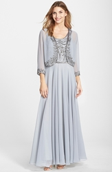 J Kara Beaded Chiffon Gown With Jacket Silver