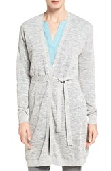 Halogenr Petite Women's Halogen Long Belted Linen Blend Cardigan Grey Texture Pattern