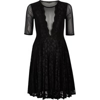 River Island Womens Black Mesh And Lace Skater Dress
